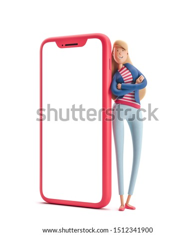 Young business woman Emma standing with big phone on  a white background. 3d illustration