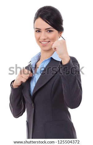 young business woman fighting with you - en garde position