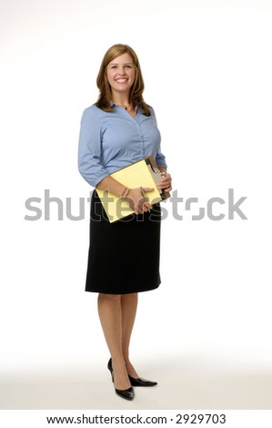 Young business woman holding a clipboard photographed on a white background.
