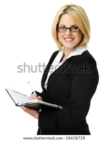 Young business woman holding organizer isolated on white