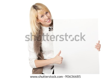 Young business woman holding the blank board and showing thumb up sign, isolated on white background