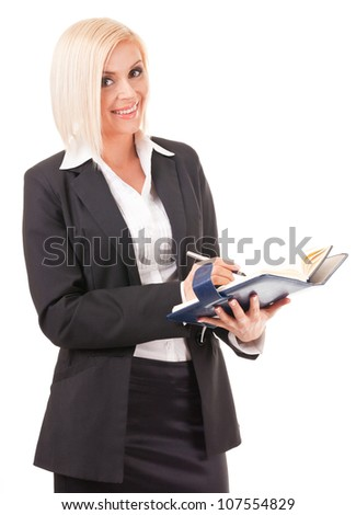 young business woman in front of white background