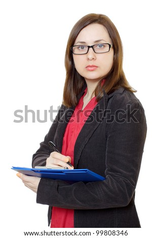 Young business woman in glasses and notebook in hand. White background.