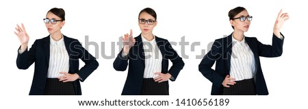 Young business woman in glasses touches the screen. Pushing the button straight. Hand touch items on the side. Business lady set for graphics isolated on white #1410656189