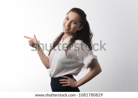 Young business woman in white shirt and black skirt smile white background isolated #1081780829