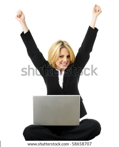 Young business woman is excited after completing work - stock photo