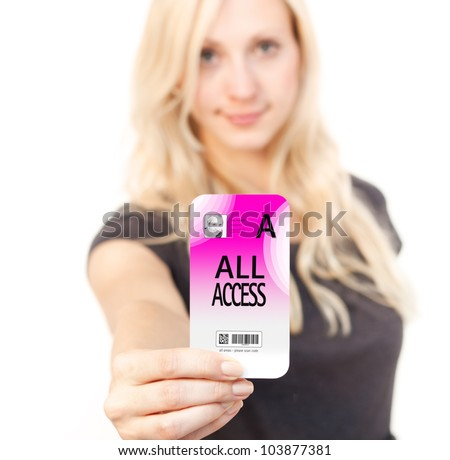 Young Business woman is smiling while showing her security pass