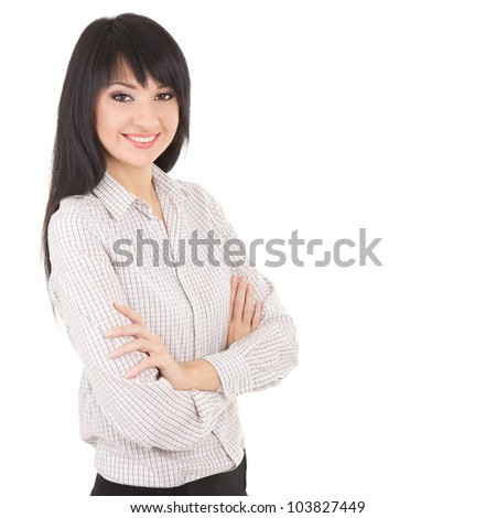 Young business woman isolated on the white background