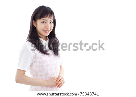 young business woman isolated on white back ground