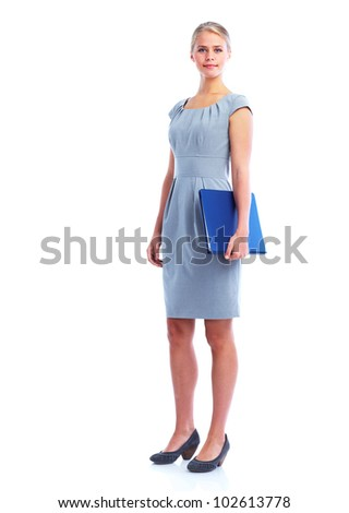 Young business woman. Isolated on white background.