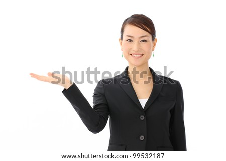 Young business woman, isolated on white background