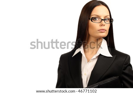 Young business woman. Isolated over white background.