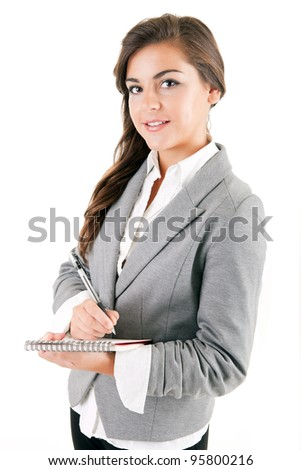 Young business woman, isolated over white background