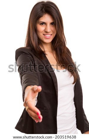 Young business woman offering handshake, isolated over copy space background