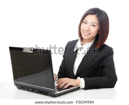 Young business woman on a laptop using computer isolated on white background, model is a asian