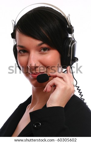 Young  business woman operator with headset isolated on white background