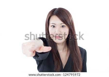 young business woman pointing at you, isolated on white background