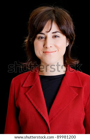 young business woman portrait on black background
