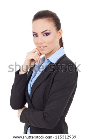 young business woman posing with hand on chin, acting thoughtful, looking at the camera,on white background