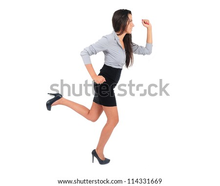 Young business woman presenting something