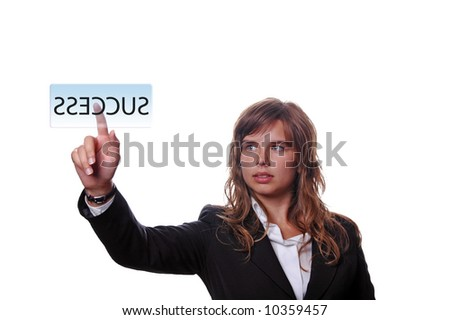 young business woman presses key, on white