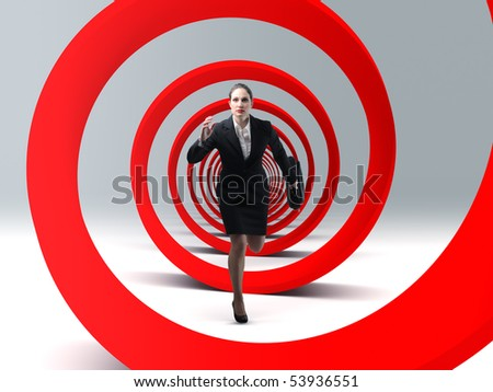 young business woman run in a red 3d spiral