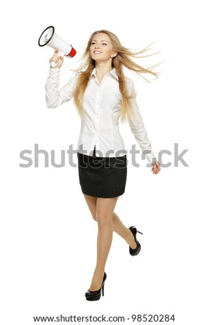 Young business woman running with megaphone, over white background