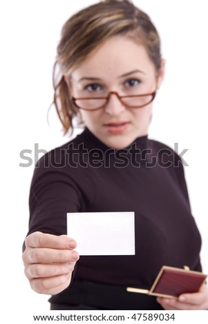 Young business woman showing a blank card isolated over white background