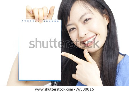 Young business woman showing memo.