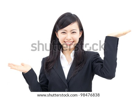young business woman showing on the palms of her hands