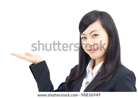 young business woman showing something, isolated on white background