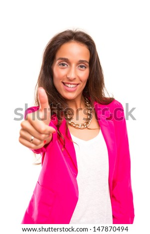 Young business woman signaling ok, isolated over white background
