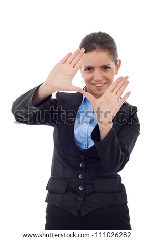 Young business woman smiling and making framing hand gesture. Isolated on white