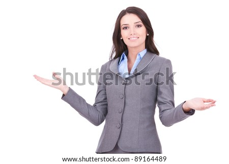 Young business woman smiling with her arms open on white background