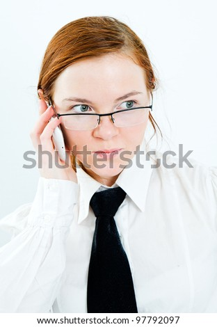 young business woman speak by phone on white background