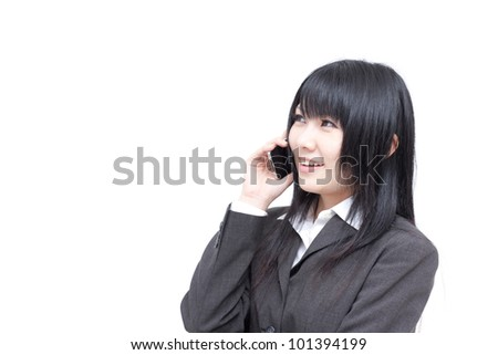 young business woman talking on the phone, isolated on white background