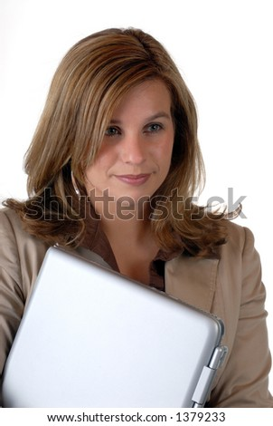 Young Business Woman Traveling With A Notebook/Laptop Computer