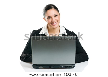 Young business woman typing on her laptop isolated on white background