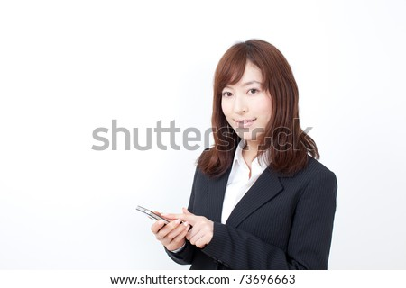 young business woman using smar tphone.