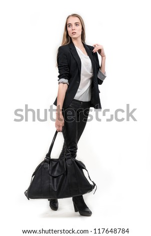 Young business woman walking with travel bag, isolated on white background