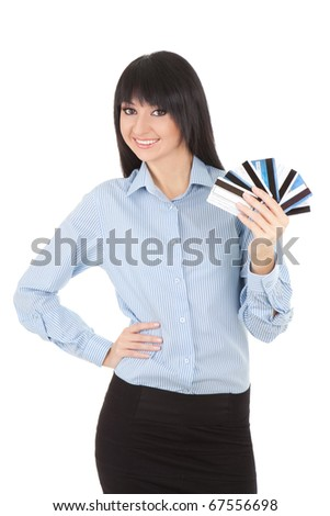 Young business woman with a bank cards, isolated on the white background
