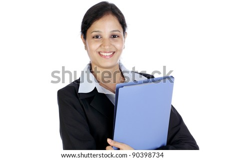 Young business woman with a document folder