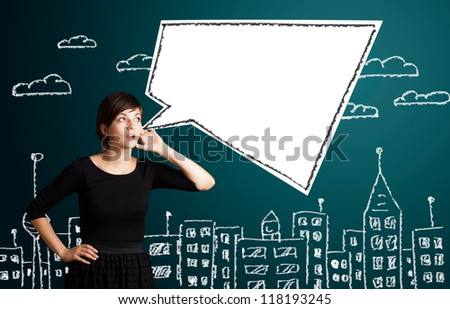 Young business woman with abstract modern speech bubble