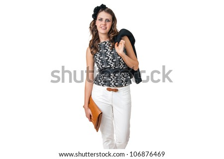 young business woman with brown purse isolated on white background