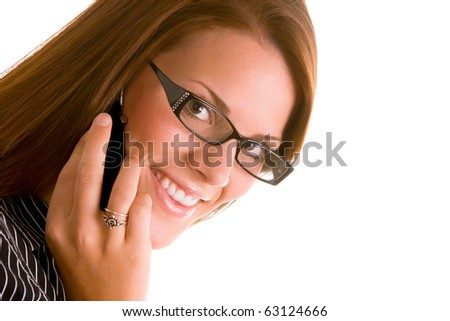 Young business woman with cell phone.