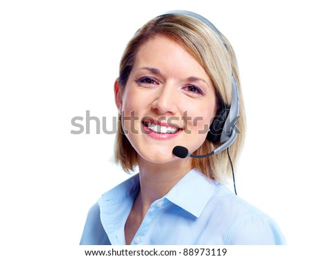 Young business woman with headset. Isolated over white background