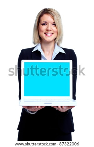 Young business woman with laptop computer. Isolated over white background