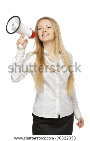Young business woman with megaphone, over white background