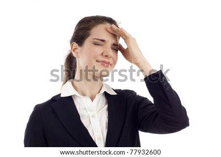 Young business woman with migraine headache isolated over white background