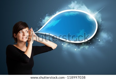 Young business woman with modern speech bubble - stock photo